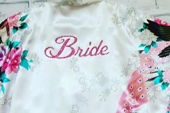 White Bride Kimono Style Wedding Robe