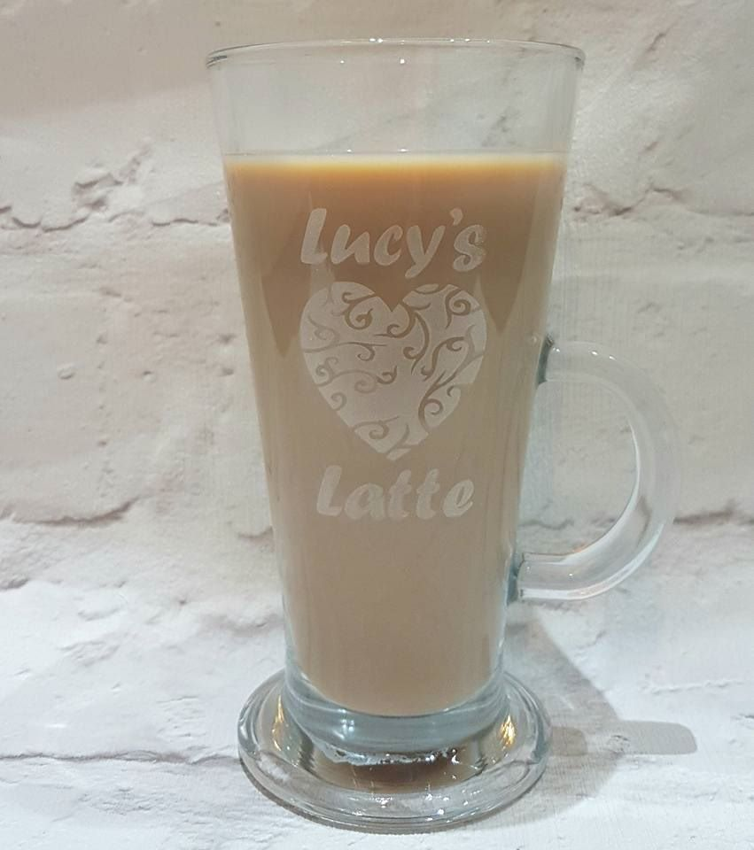 Personalised Latte Glass With Heart Design