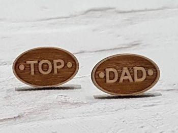 Top Dad Wooden Cufflinks