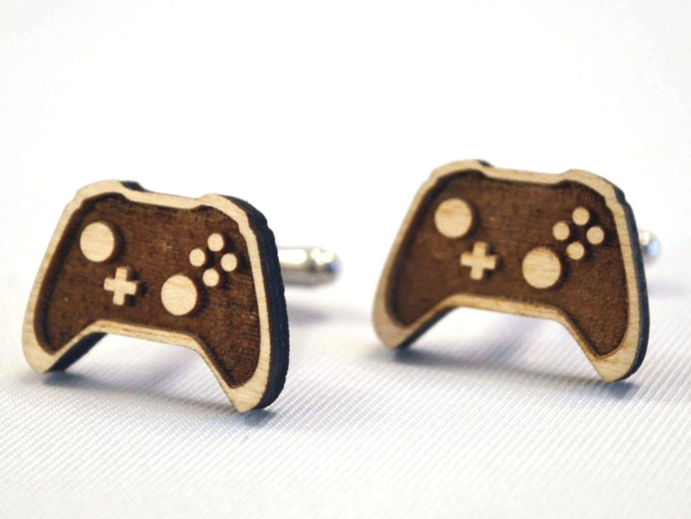 Video Controller Wooden Cufflinks, Ideal Gift For All Occasions