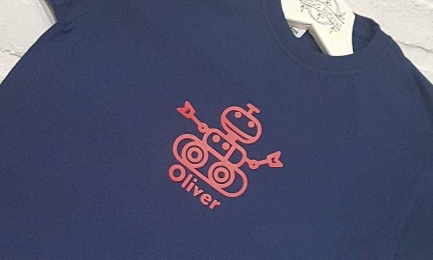 Boys Personalised Robot T-shirt.