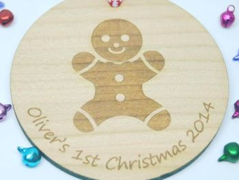 Gingerbread Man 1st Christmas Wooden Bauble