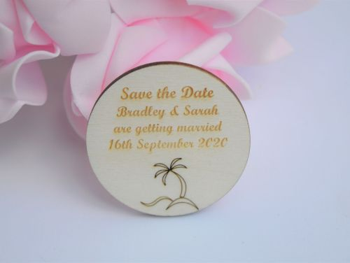 Wedding Save The Date Magnets With Palm Tree Design Packs of 10