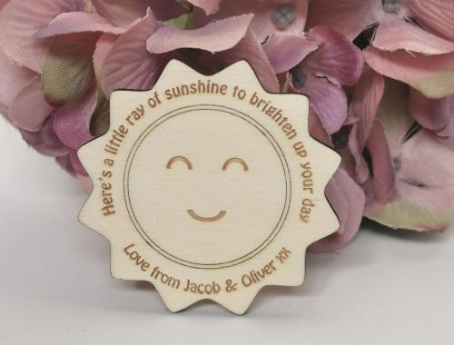 Sunshine Pocket Hug TokenPersonalised wooden pocket hug token, which double