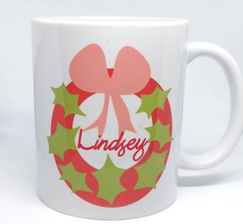 Personalised Christmas Wreath Cup