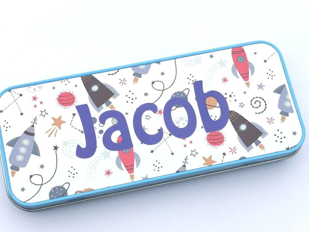 Personalised Space Pencil Case Tin