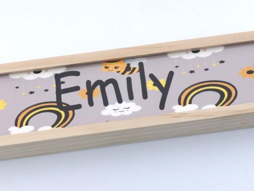Personalised Bumble Bee And Rainbow Pencil Crayon Set