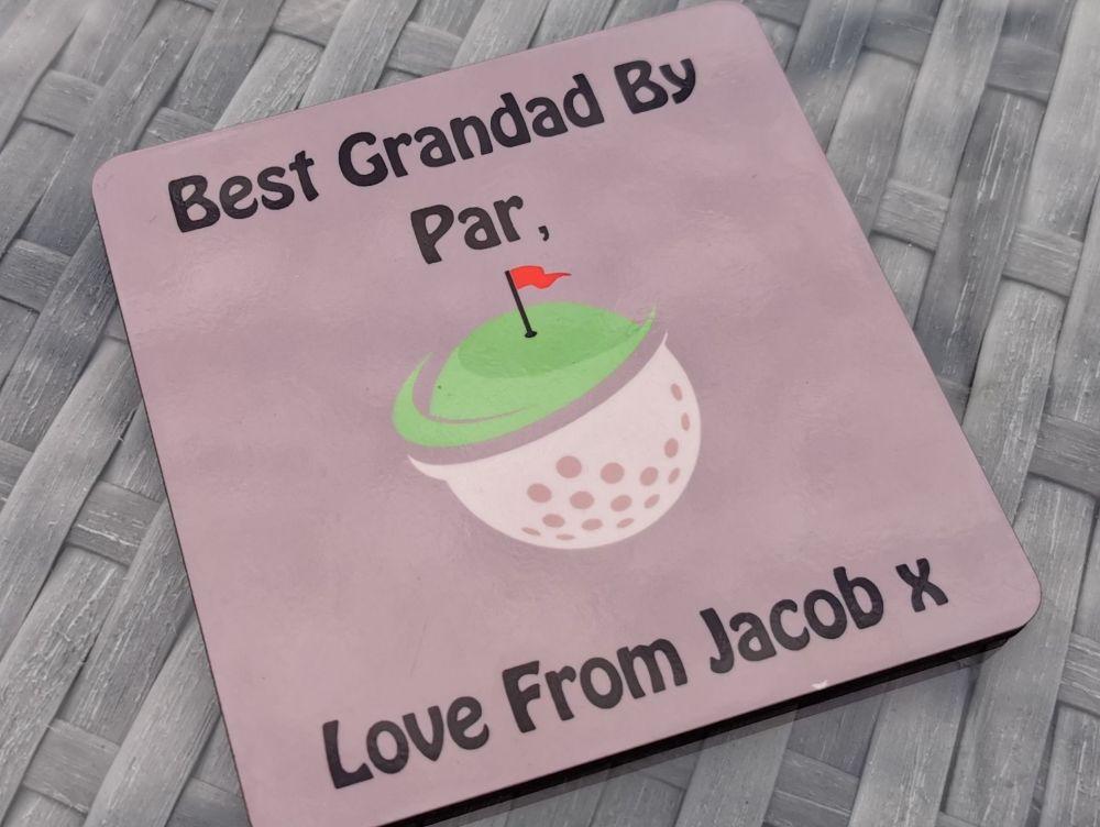 Best Grandad By Par Personalised Coaster