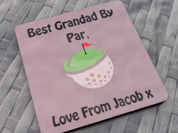 Best Grandad By Par Personalised Coaster