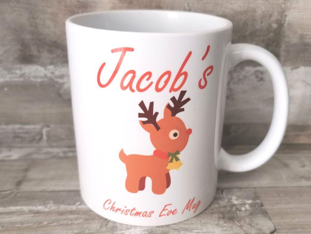 Personalised Christmas Eve Rudolf Mug