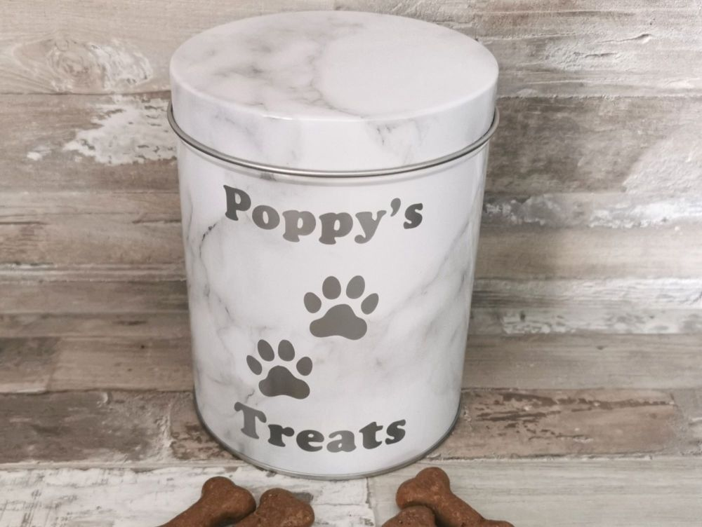 Personalised Marble Effect Pet Treat Tin