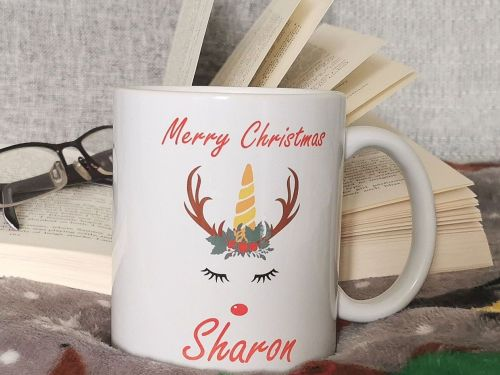 Personalised Christmas Unicorn Cup