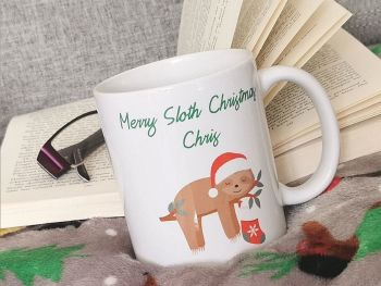 Personalised Christmas Sloth Cup