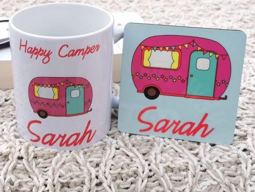 Personalised Happy Camper Cup & Coaster