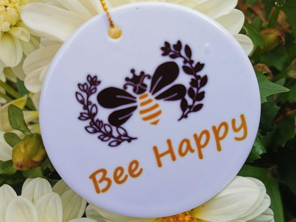Bee Happy Hanging Sign