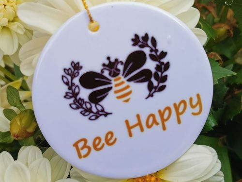 Bee Happy Hanging Sign