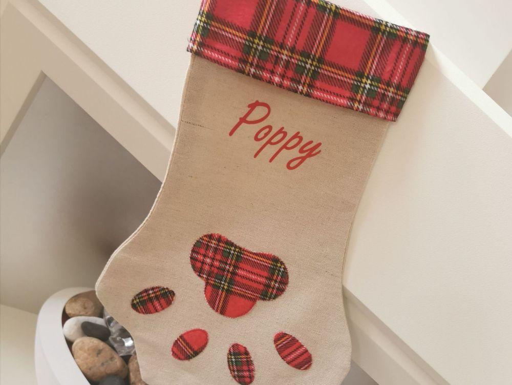 Personalised Paw Print Pet Christmas Stocking