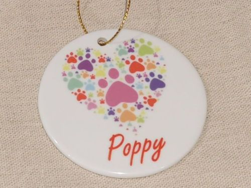 Personalised Paw Print Hanging Ornament