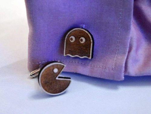 Pac Man Style Wooden Cufflink