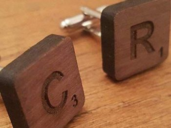 Scrabble Style Walnut Wood Cufflinks