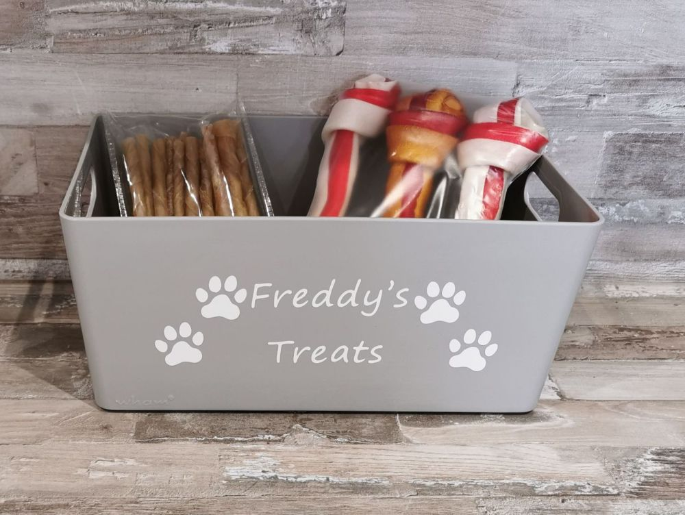 Personalised  Grey Pet Treat Box