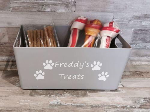 Personalised  Grey Pet Treat Box