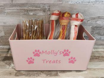 Personalised Pink Pet Treat Storage Box