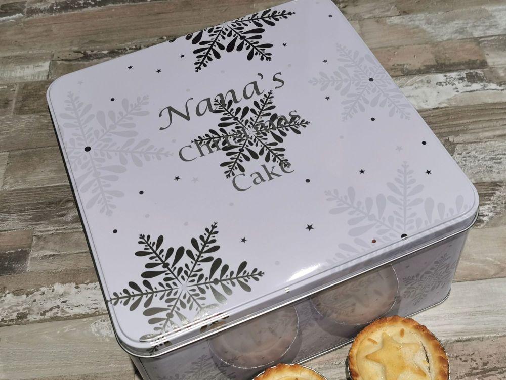 Personalised Snowflake Christmas Cake Tin