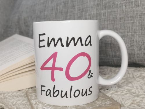Personalised 40 & Fabulous Cup