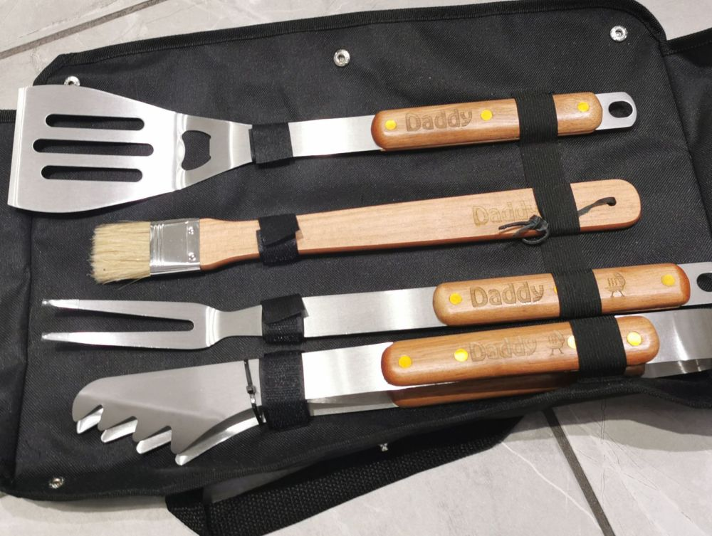 Personalised BBQ Tool Set With Carry Case