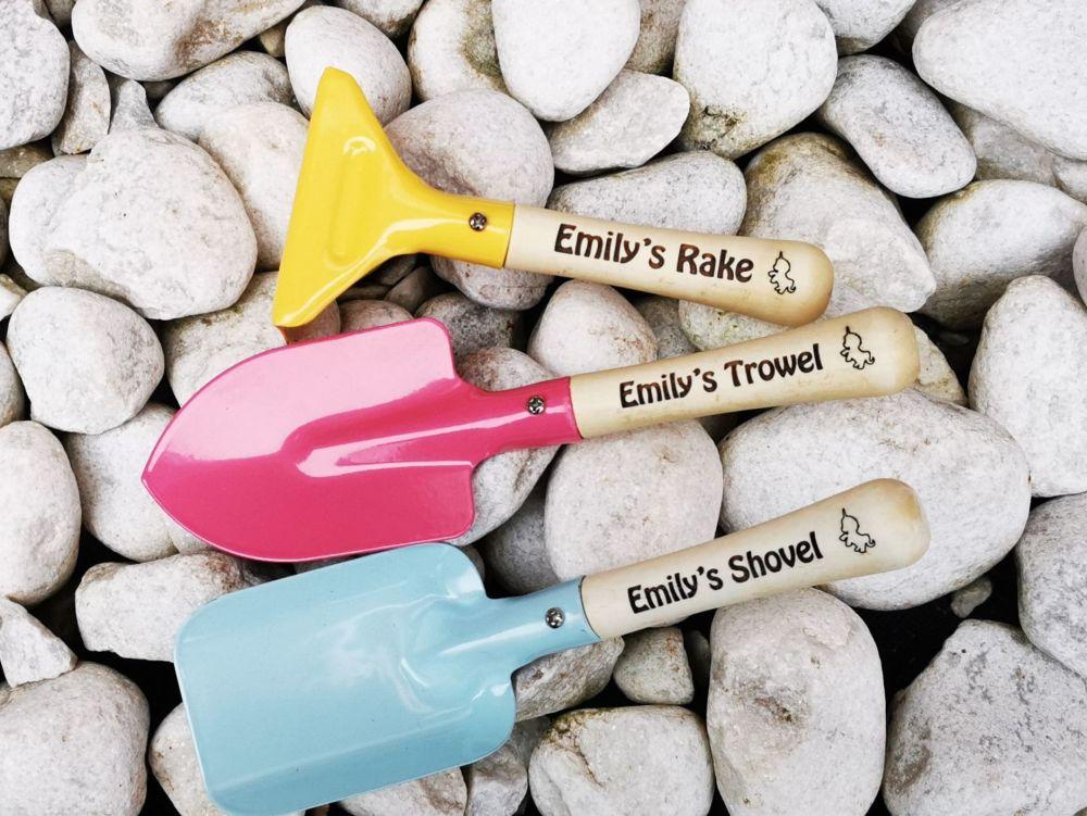 Personalised Unicorn Children's Garden Tools