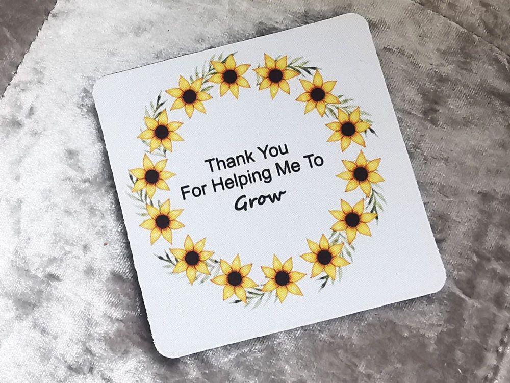 Sunflower Thank You Coaster