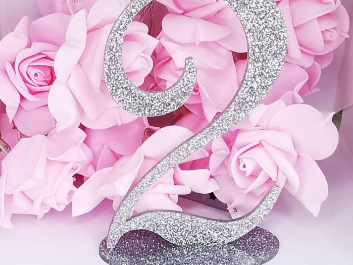 Silver Sparkle Freestanding Table Numbers