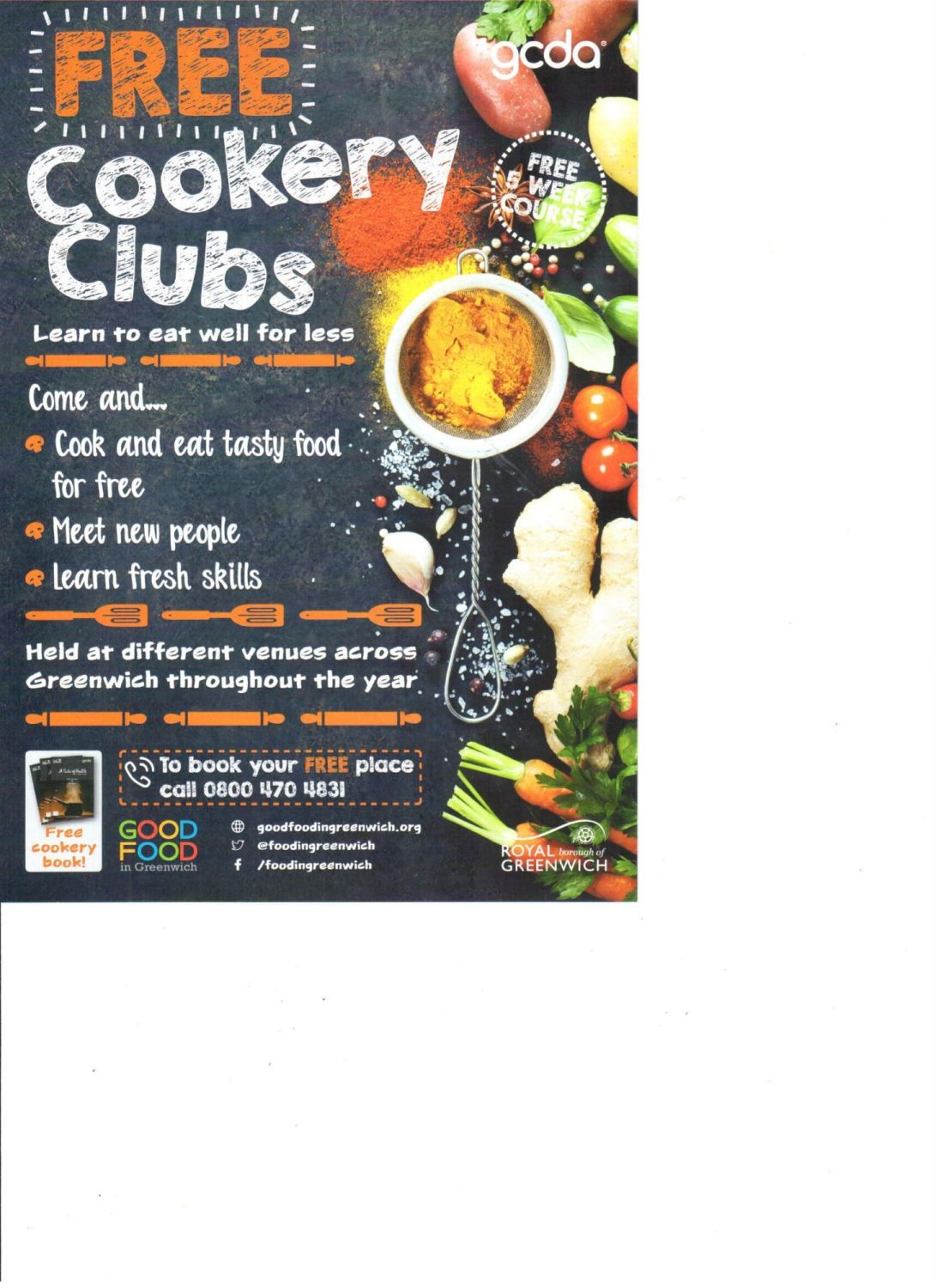 free cookery clubs 2018 new