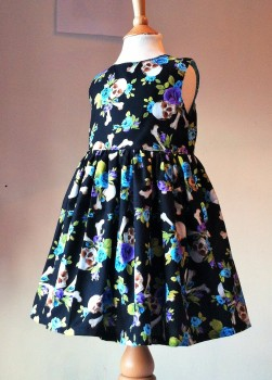 Skulls & Crossbones Blue/Purple rose Dress