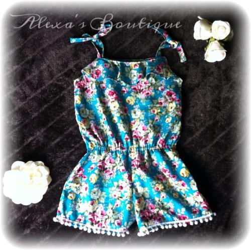 Teal Vintage Rose Playsuit