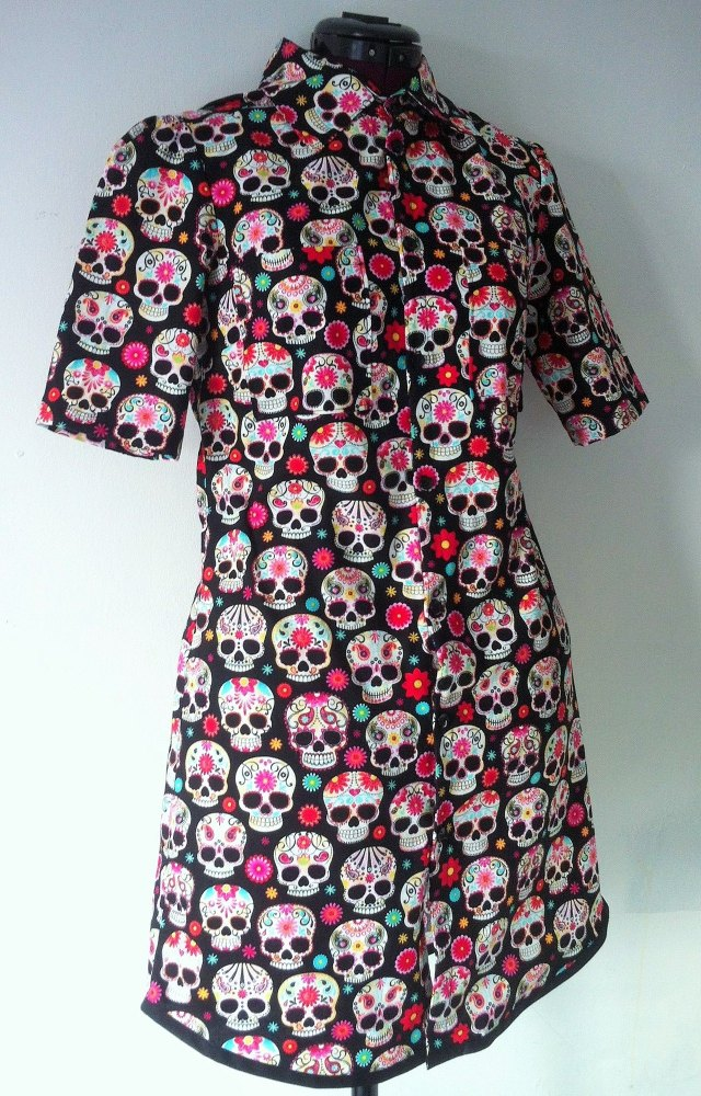 Ladies Sugar Skulls Shirt Dress