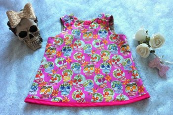 Sugar Skulls Pinafore, goth, day of dead, girls dress, pink skull