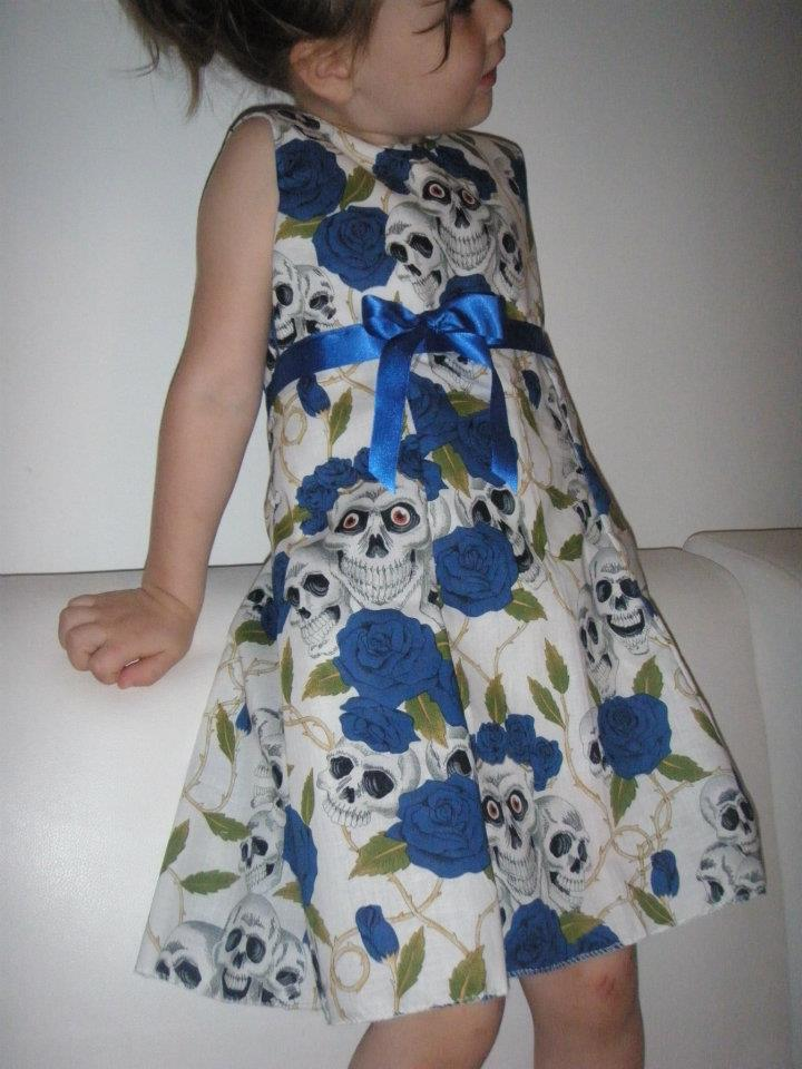 Skulls & Roses dress - Blue/White