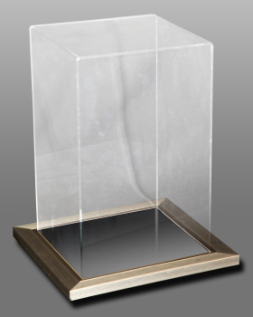 Acrylic Upright Case With Silver Frame With Mirror base.