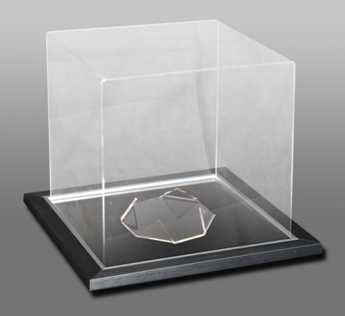 Acrylic Cube Display Case With A Black And Silver Frame Mirror Base