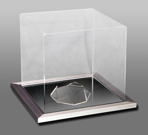 Acrylic Cube Display Case With A Silver Frame Mirror Base