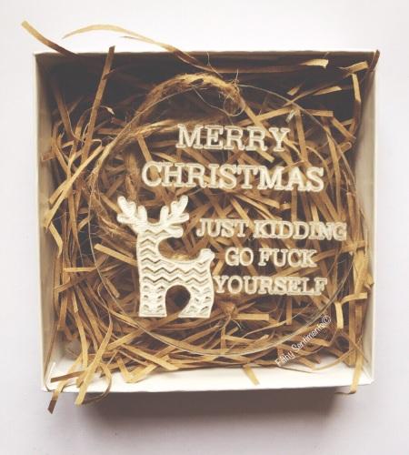 Acrylic Merry Christmas reindeer just kidding Bauble