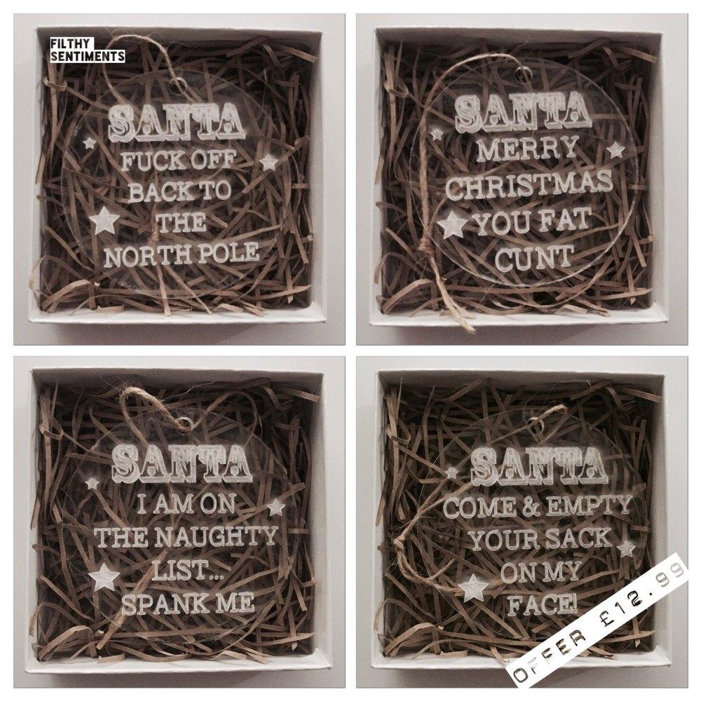 Set of 4 Filthy Santa baubles