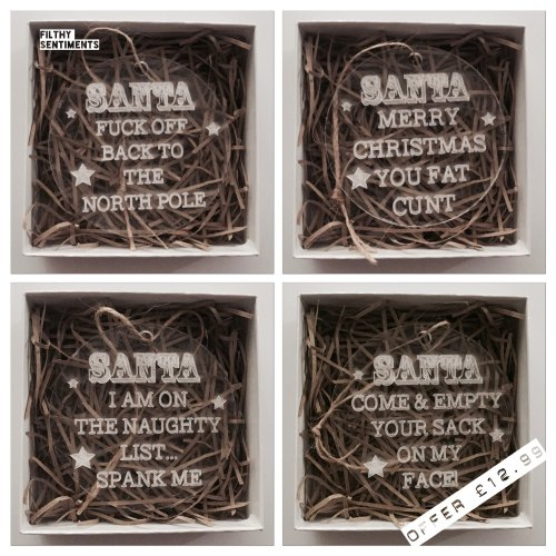 Set of 4 Filthy Santa baubles