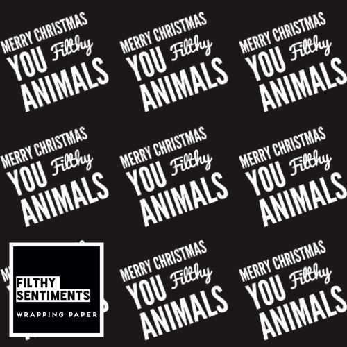 Filthy Animals wrapping paper & gift tags - Pack of 2