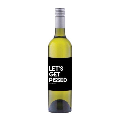 Let's Get Pissed Wine label sticker - WL03