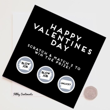 Awesome Valentines day SMALL Blowjob unlucky  scratch card (old stock)