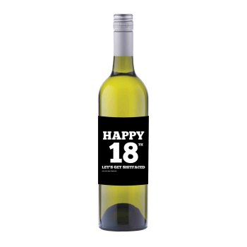 Happy 18th Wine label sticker - WL011 - F00024