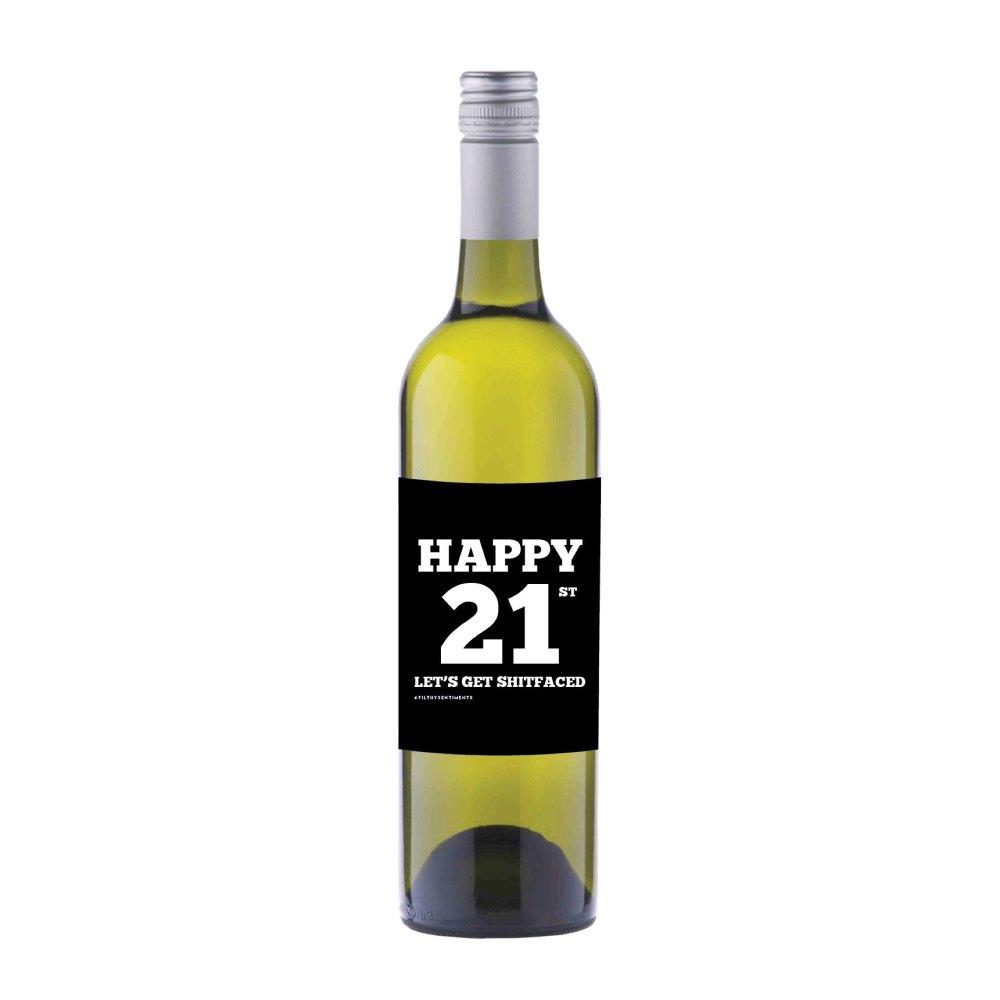 Happy 21st Wine label sticker - WL012
